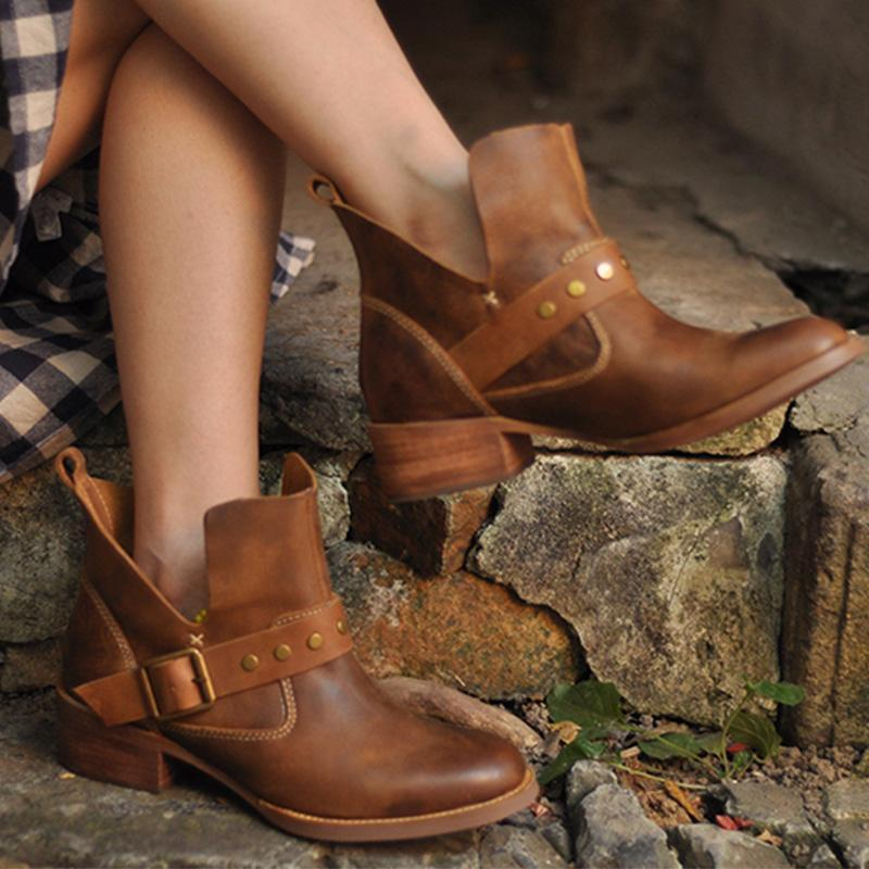 Vintage Brown Rivet Buckle Side-Cut Round Toe Medium Chunky Ankle Booties