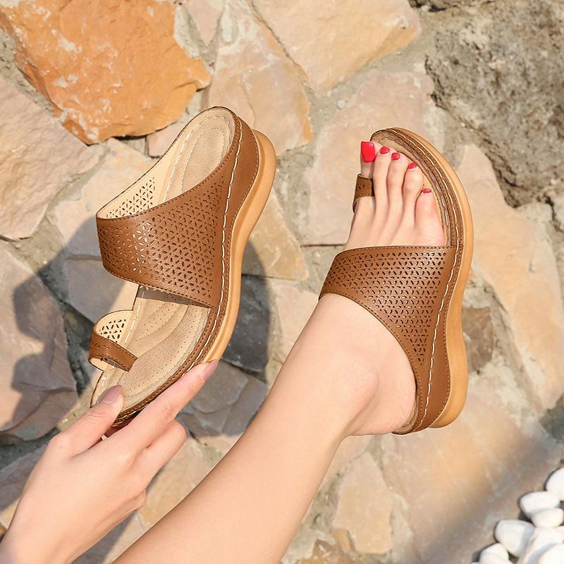 Large size women's retro Bohemian style hollow wedge flip-toe sandals