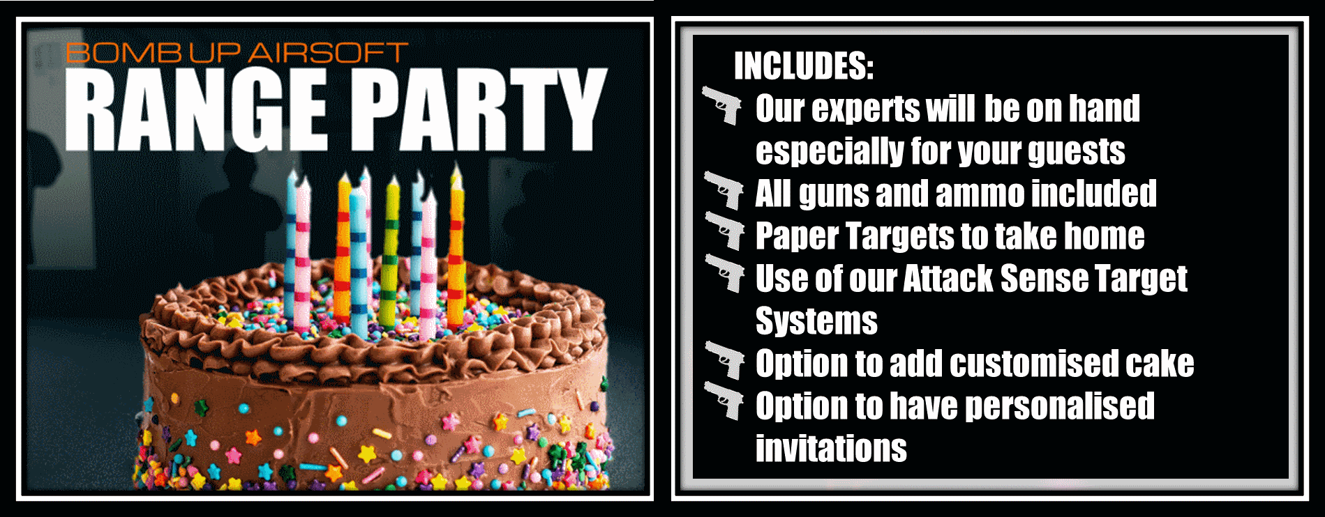 Book a shooting range party with Bomb Up Airsoft