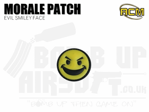 Yellow Evil Smiley Face - Velcro Patch