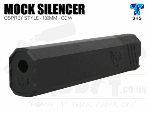 SHS Osprey Airsoft Silencer 180mm Long CCW - Black