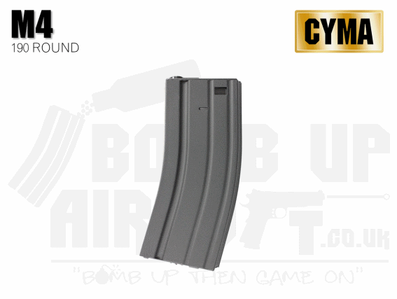 Cyma Metal M4/M16 Mid Capacity Mag - 190 Rounds - Black
