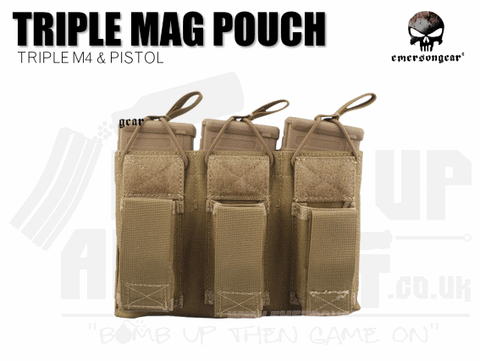 Emerson Gear Triple Mag and Pistol Mag Pouch - Coyote