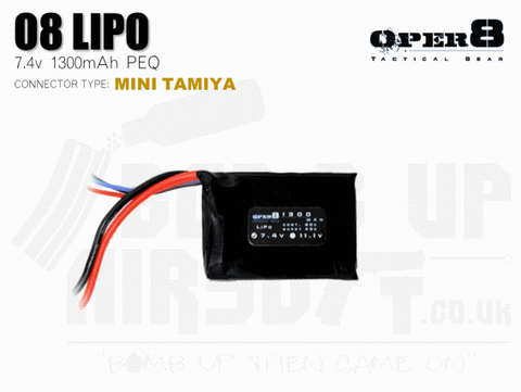 Oper8 7.4v 1300mah Mini PEQ Battery - Tamiya