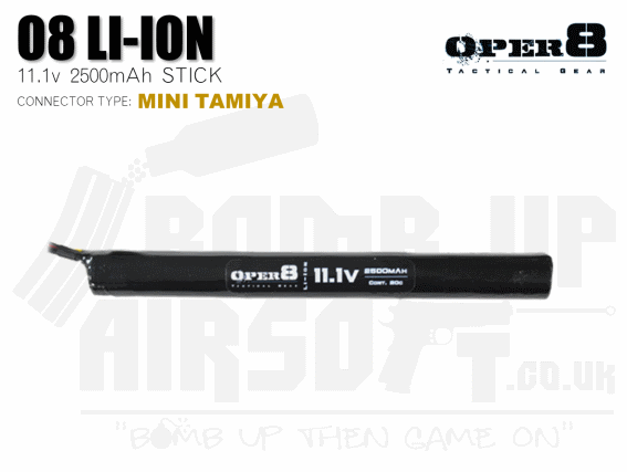 Oper8 11.1v Li-Ion 2500mah Stick Style battery - Mini Tamiya