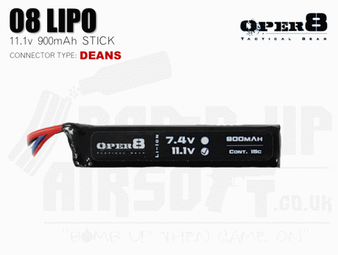 Oper8 11.1v 900mah Mini Li-Po Battery - Deans