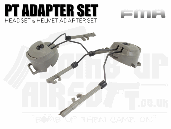 FMA PT Peltor Headset and Helmet Rail Adaptor Set - Green