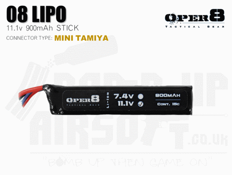 Oper8 11.1v 900mah Mini Li-Po Battery - Tamiya