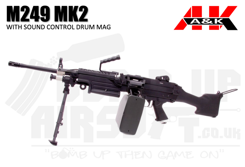 A&K M249 With Sound Control Drum Mag AEG Airsoft Gun