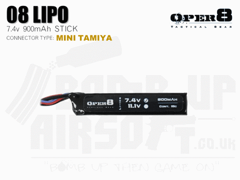 Oper8 7.4v 900mah Mini Li-Po Battery - Tamiya