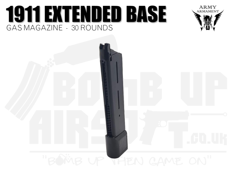 Army 1911 Extended Mag with Base Pad - 30 Round Gas Mag