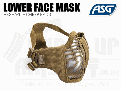 ASG Strike Systems Airsoft Mesh Mask With Cheek Pads - Tan