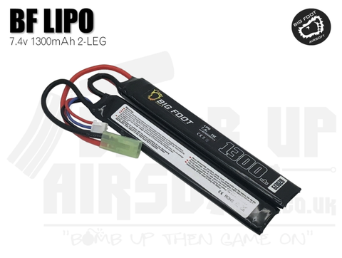 Big Foot Heat Lipo Battery 1300 mAh 7.4v 15c - Split Style