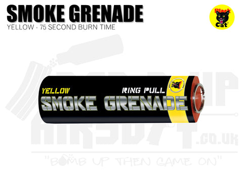 Black Cat Ring Pull Smoke Grenade - Yellow