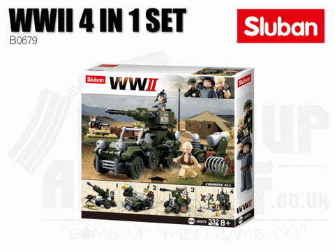 Sluban Bricks B0679 - WWII 4 in 1 Set