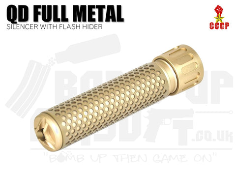 CCCP QD Silencer Full Metal with Flash Hider (Long - Tan - 14mm CCW)