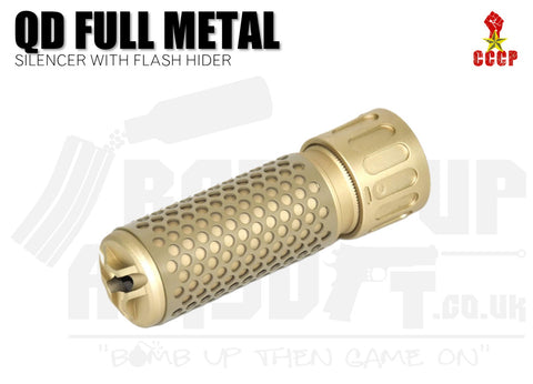 CCCP QD Silencer Full Metal with Flash Hider (Short - Tan - 14mm CCW)