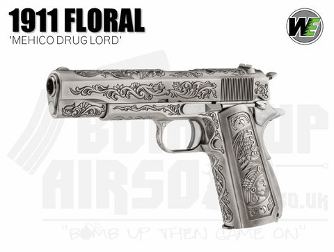"WE 1911 ""Mehico Druglord"" - Silver GBB Airsoft Pistol"