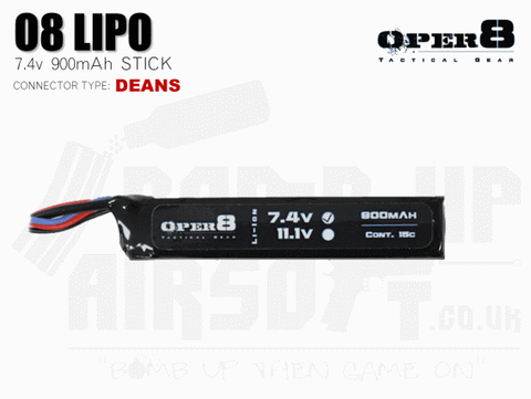 Oper8 7.4v 900mah Mini Li-Po Battery - Deans