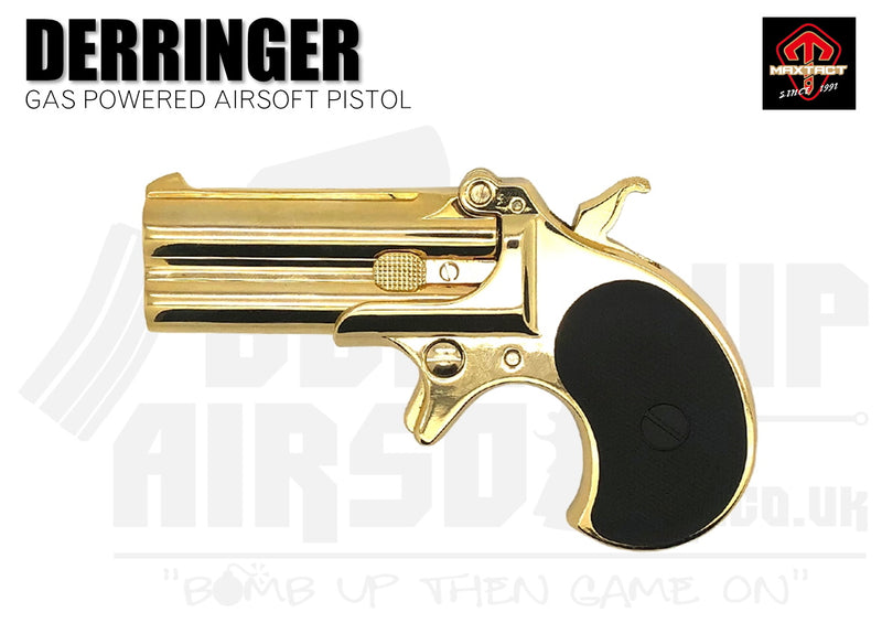 Maxtact Derringer Full Metal Airsoft Pistol - Gold