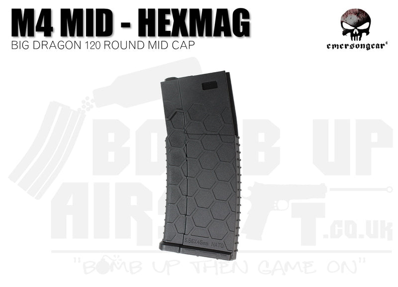 Emerson Gear Big Dragon Hexmag - 120 Round M4 Mid Cap - Black