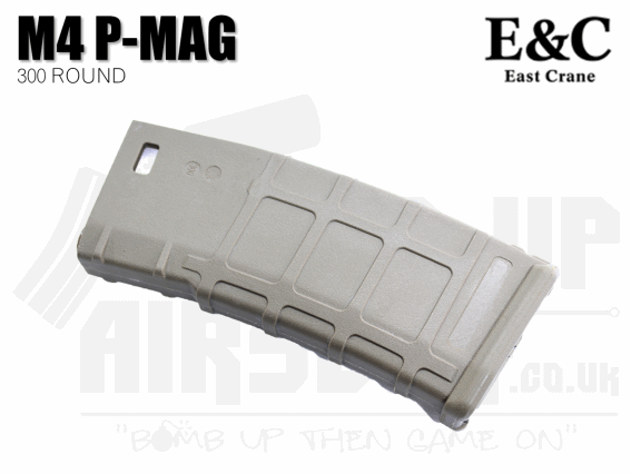 E&C P-Mag Style M4/M16 High Capacity Mag - 300 Rounds - Tan