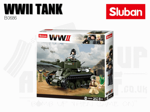 Sluban Bricks B0686 - WWII Allied Light Cavalry Tank