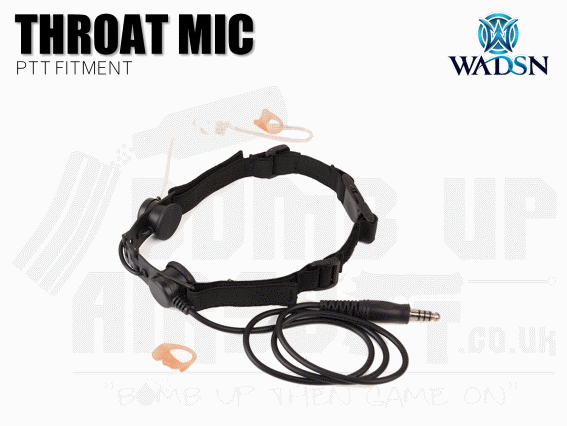 WADSN Tactical Throat Mic Headset - Black