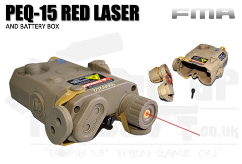 FMA PEQ 15 LA-5 Battery Case With Red Laser  - Tan