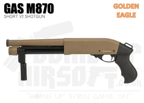 Golden Eagle M870 Tri-Shot V2 Gas Shotgun - Short - Tan