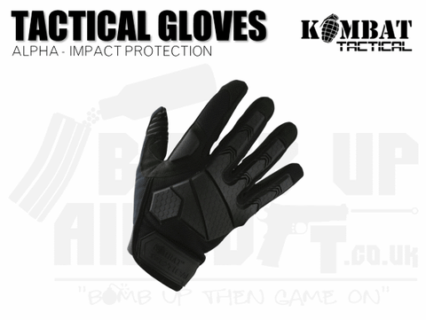 Kombat UK Alpha Tactical Gloves - Black - Various Sizes