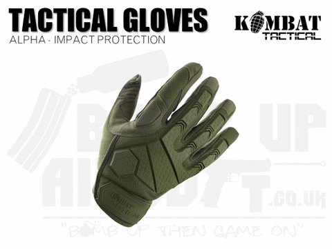 Kombat UK Alpha Tactical Gloves - Green - Various Sizes