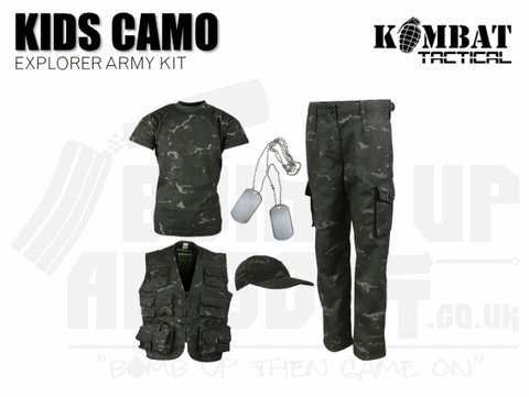 Kombat UK Kids Camouflage Explorer Army Kit - BTP Black