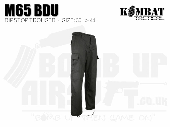 Kombat UK M65 BDU Ripstop Trousers - Black