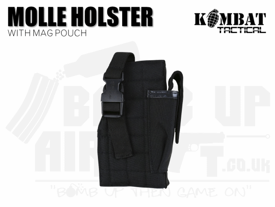 Kombat UK Molle Gun Holster With Mag Pouch - Black