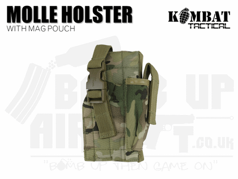 Kombat UK Molle Gun Holster With Mag Pouch - MTP