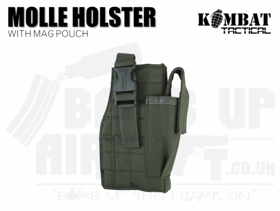 Kombat UK Molle Gun Holster With Mag Pouch - OD Green