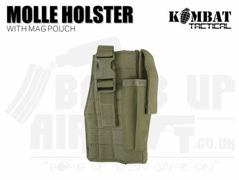 Kombat UK Molle Gun Holster With Mag Pouch - Tan