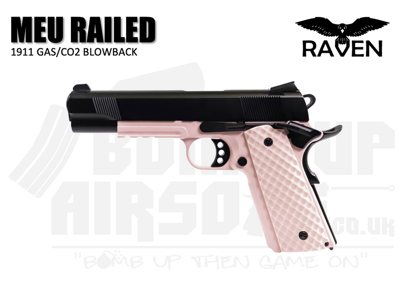 Raven 1911 MEU Railed GBB Airsoft Pistol - Black/Pink