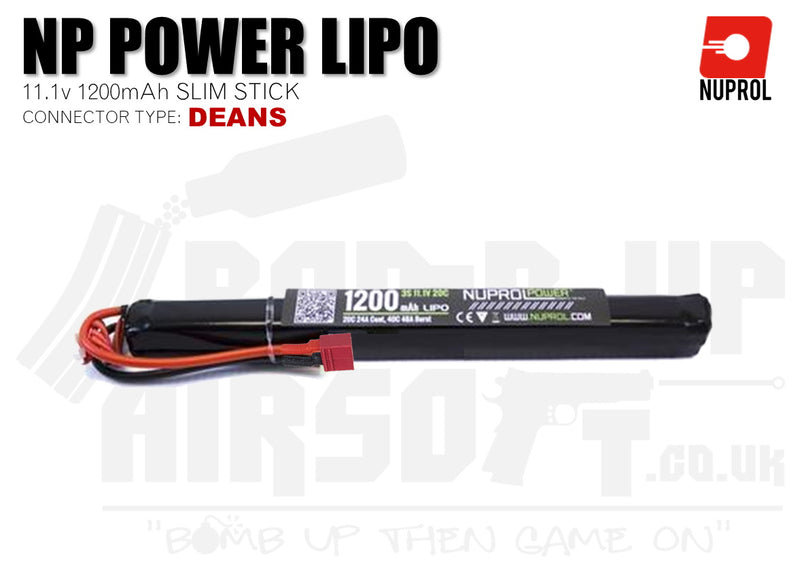Nuprol NP Power LiPo Battery 1200mah 11.1v 20c SLIM (8139) - Deans