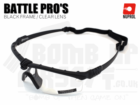 Nuprol PMC Battle Pro Eye Protection With Inserts - Black Frame/Clear Lens