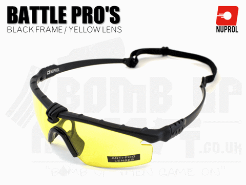 Nuprol PMC Battle Pro Eye Protection With Inserts - Black Frame/Yellow Lens