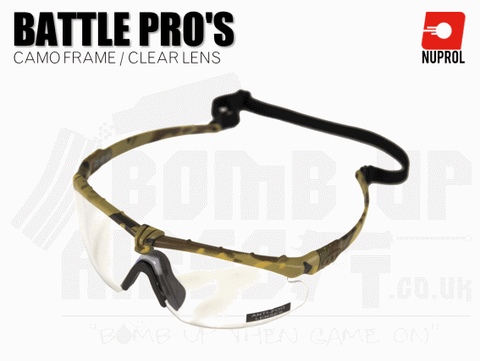 Nuprol PMC Battle Pro Eye Protection With Inserts - Camo Frame/Clear Lens