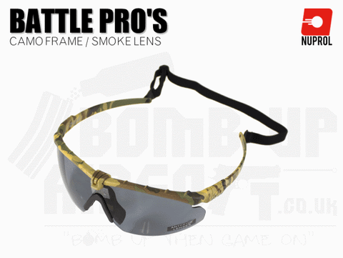 Nuprol PMC Battle Pro Eye Protection With Inserts - Camo Frame/Smoke Lens