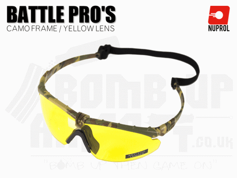Nuprol PMC Battle Pro Eye Protection With Inserts - Camo Frame/Yellow Lens