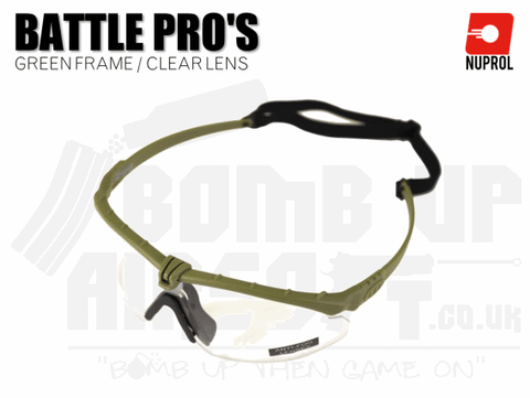 Nuprol PMC Battle Pro Eye Protection With Inserts - Green Frame/Clear Lens