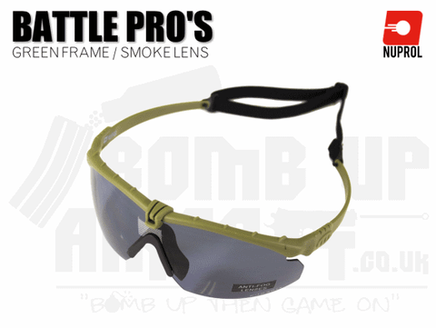 Nuprol PMC Battle Pro Eye Protection With Inserts - Green Frame/Smoke Lens