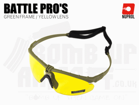 Nuprol PMC Battle Pro Eye Protection With Inserts - Green Frame/Yellow Lens