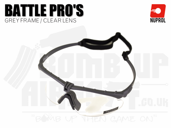 Nuprol PMC Battle Pro Eye Protection With Inserts - Grey Frame/Clear Lens