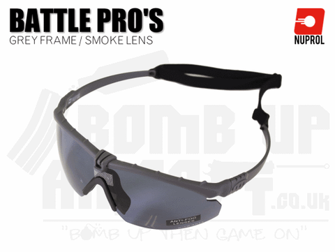 Nuprol PMC Battle Pro Eye Protection With Inserts - Grey Frame/Smoke Lens